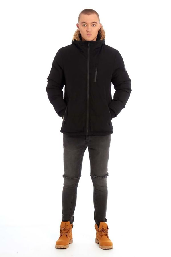 Black Contrast Faux Hood Trim Padded Jacket