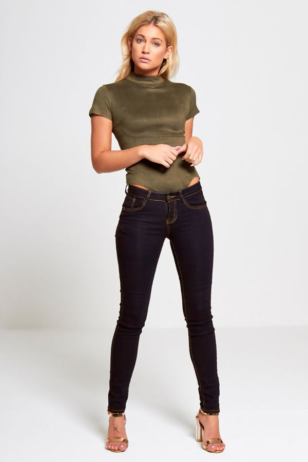 Black Contrast Stitch Pocket Detail Skinny Jeans