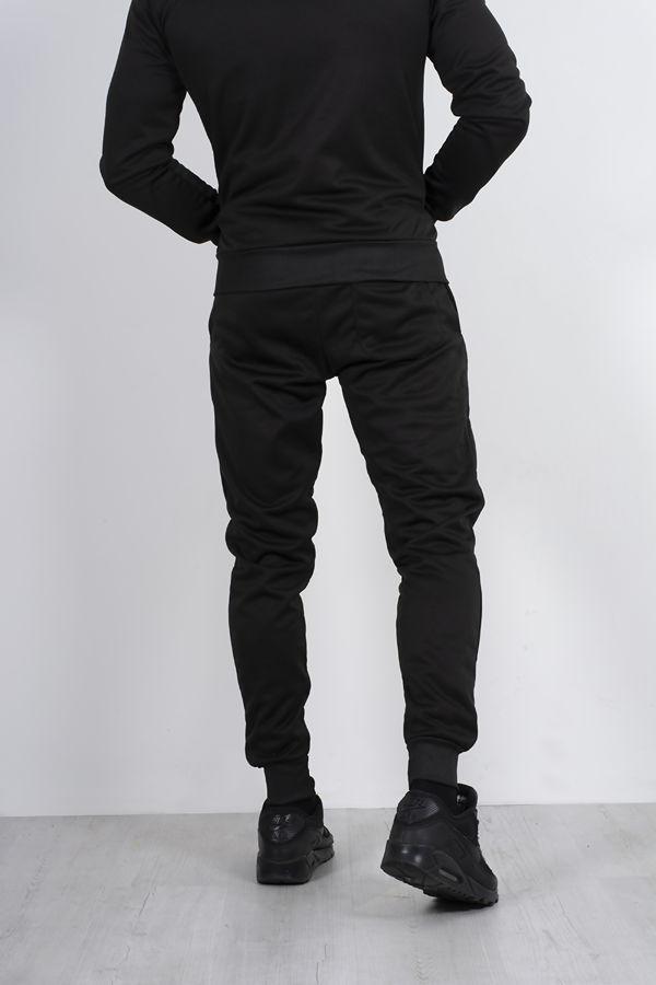 Black Contrast Striped Funnel Skinny Fit Tracksuit