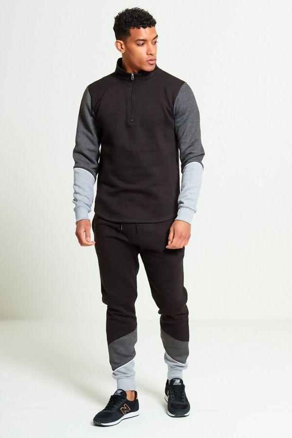 Black Contrast Zip Neck Skinny Fit Tracksuit