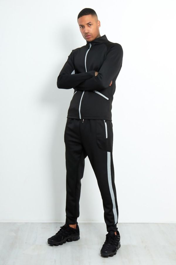 Black Contrast Zip Tracksuit With Panel Detail
