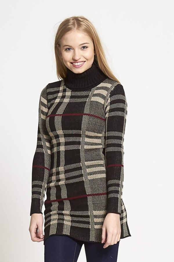 Black Cowl Neck Long Sleeve Tartan Knitted Dress