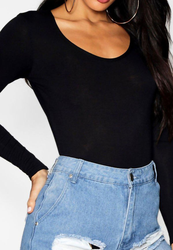 Black Crew Long Sleeve Bodysuit