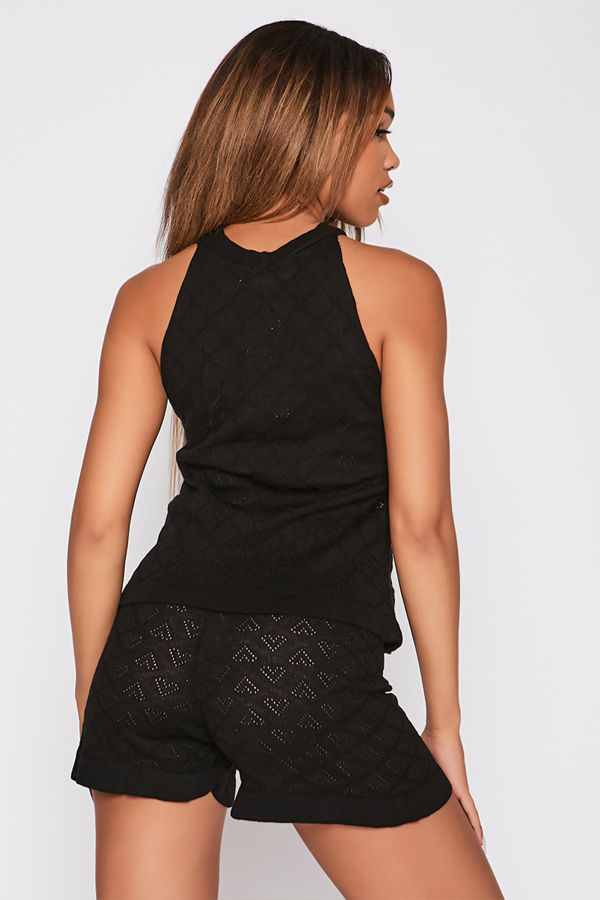 Black Crochet Knitted Halter Top And Shorts Co-Ord