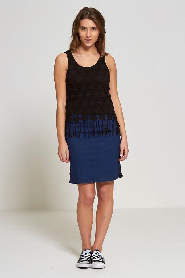Black Crochet Overlay Hem Tassel Top