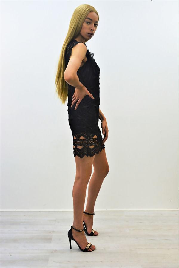Black Crochet Overlay Mini Dress