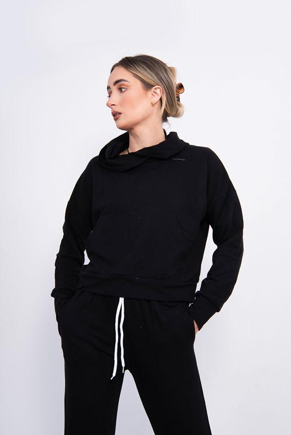Black Crop Hood Loungewear Set