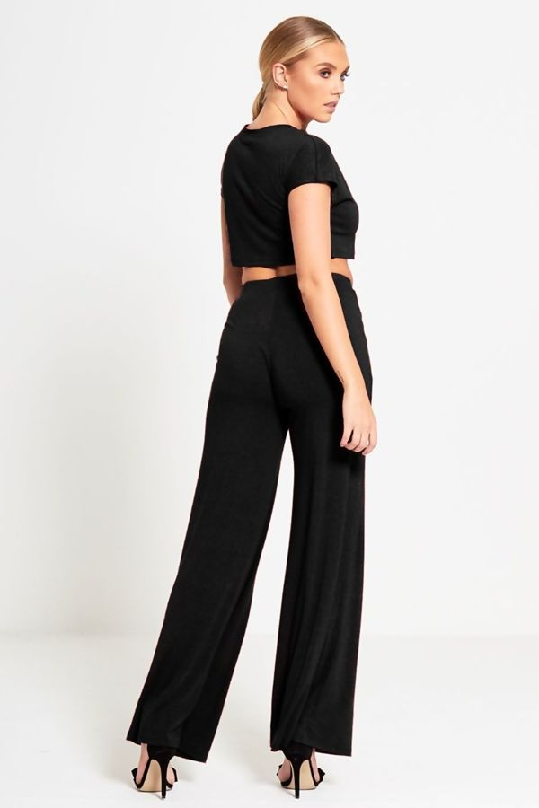 Black Crop Top & Wide Leg Trouser Co-Ord