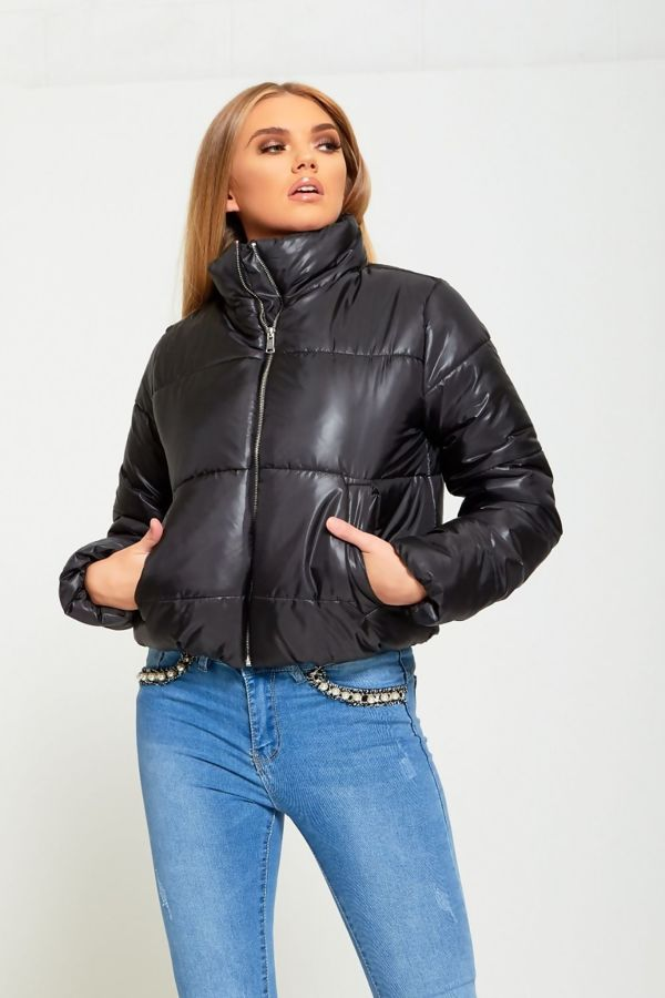 Black Cropped High Neck Puffer Jacket