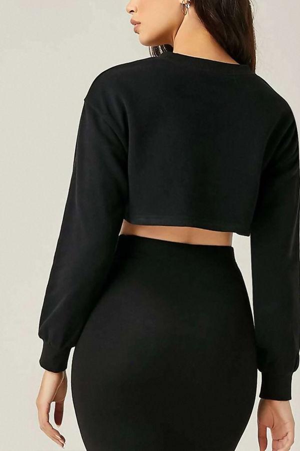 Black Cropped Oversized Sweatshirt