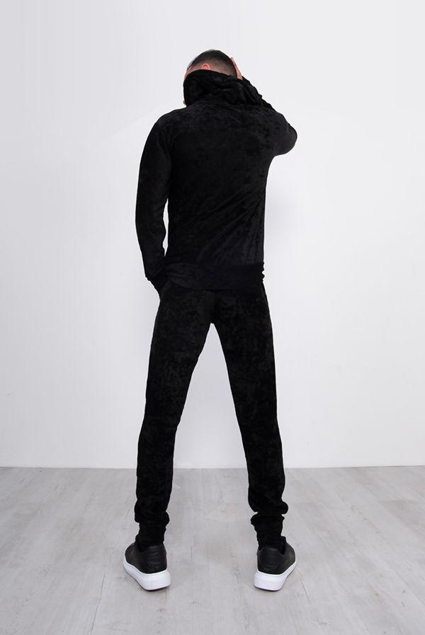 Black Crushed Velvet Skinny Fit Tracksuit
