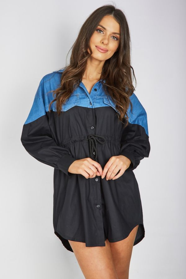 Black Denim Contrasted Slouchy Shirt Dress