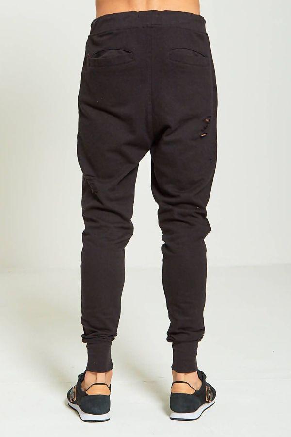 Black Destroyed Skinny Jogging Bottom