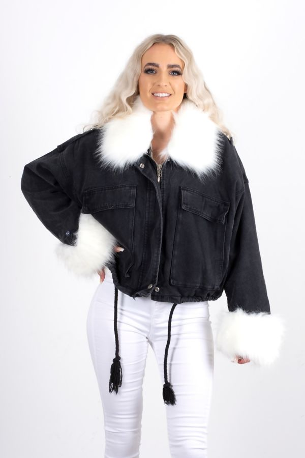 Black Detachable Faux Fur Denim Jacket