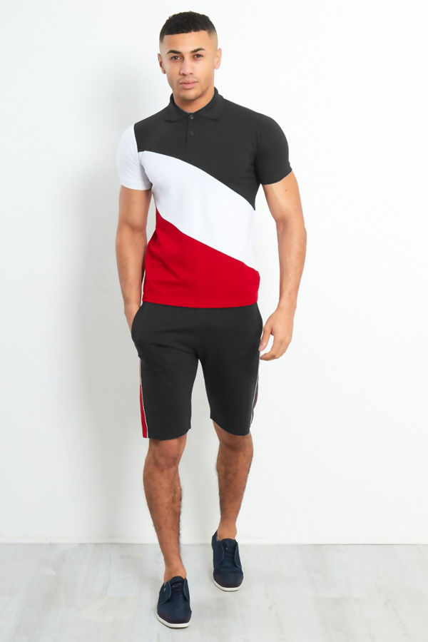 Black Diagonal Panel Colour Short Tracksuit