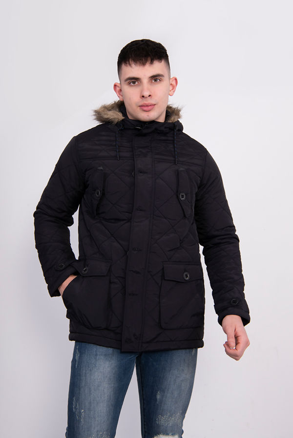 Black Diamond Quilted Faux Fur Hooded Parka