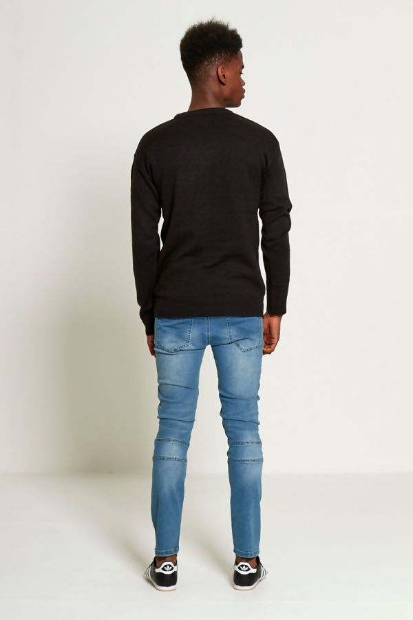 Black Distressed Knitted Jumper