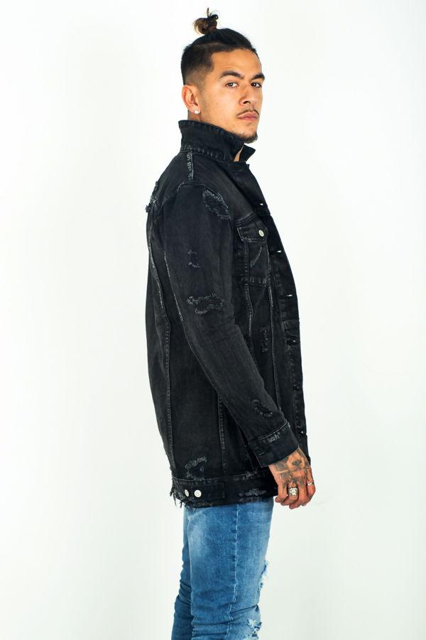 Black Distressed Long Line Denim Jacket