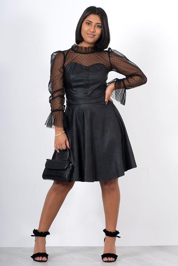 Black Dobby Mesh Faux Leather Skater Dress