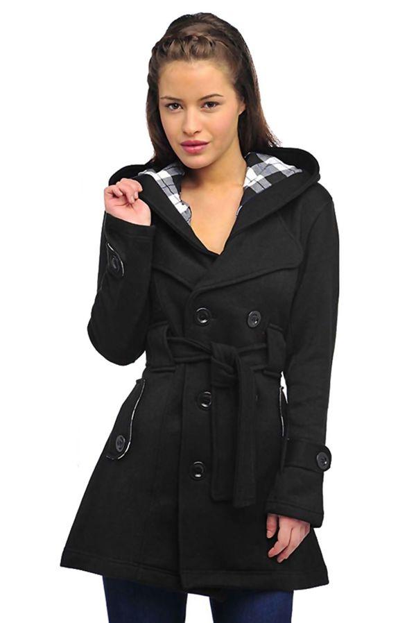 Black Double Breasted Fleece Hood Belted Coat
