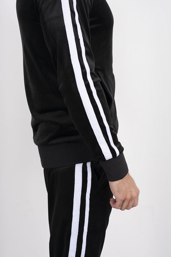 Black Double Striped Band Velour Tracksuit