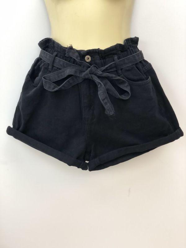 Black Elasticated Waist Belted Shorts