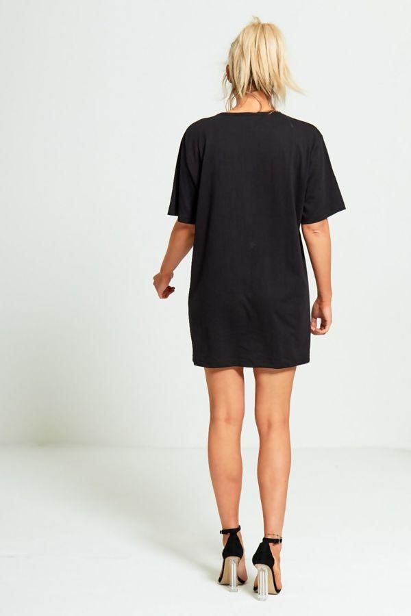 Black Eyelash Textured Graphic T-Shirt Dress