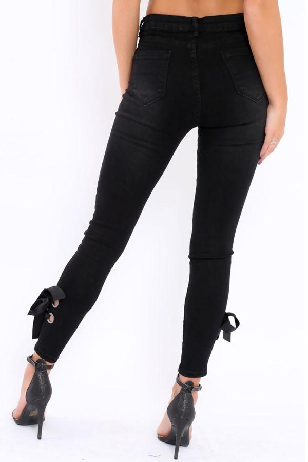 Black Eyelet Ribbon Tie Up Jeans