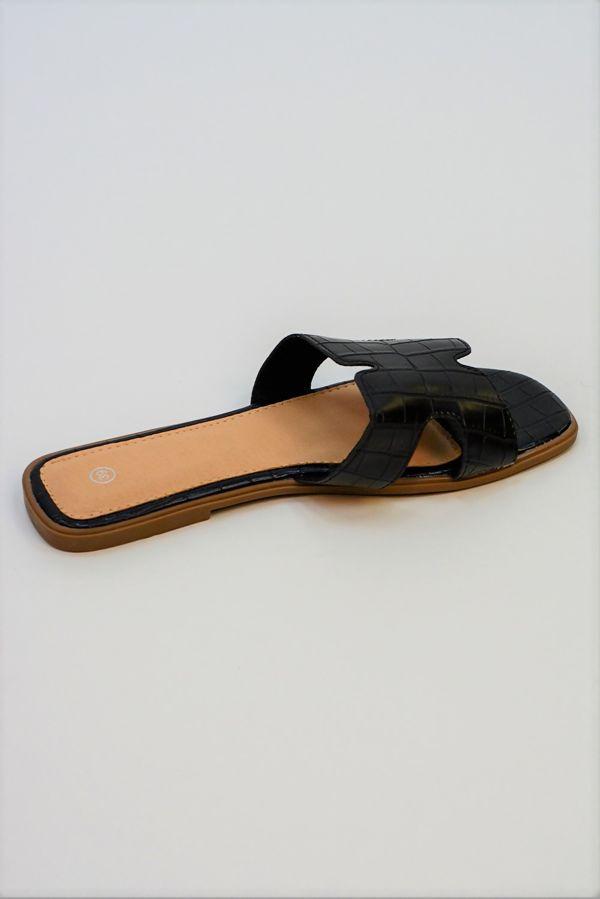 Black Faux Croc Square Toe Sliders