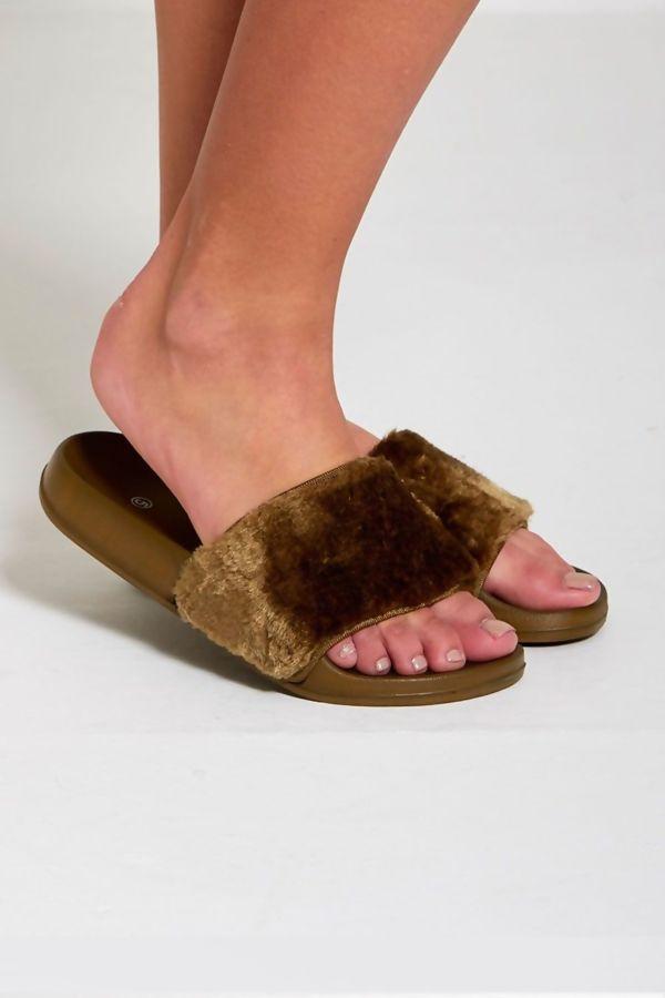 Black Faux Fur Slippers