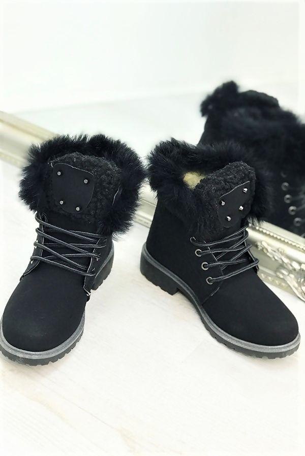 Black Faux Fur Stud Boots