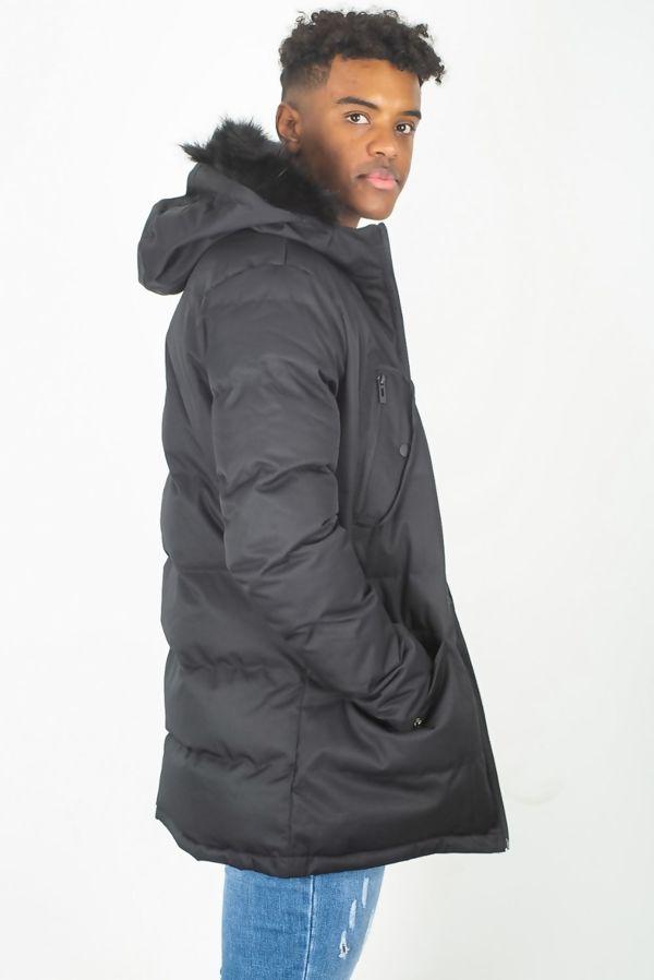 Black Faux Fur Trim Padded Hood Parka