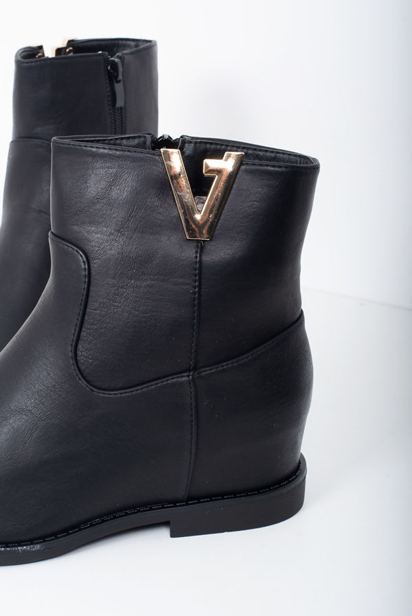 Black Faux Leather Chelsea Ankle Boots