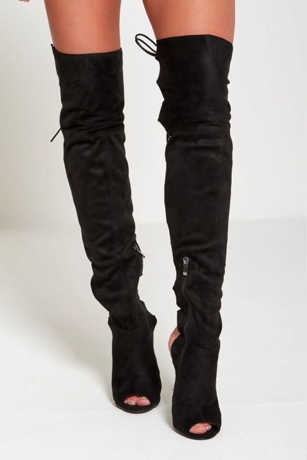 Black Faux Suede Thigh High Lace Up Boots