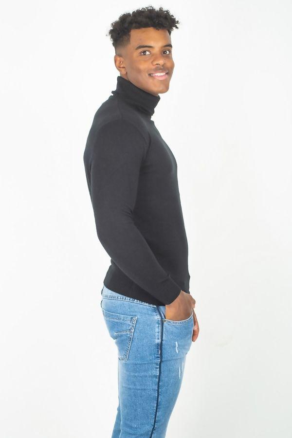 Black Fine Knit Polo Neck Jumper