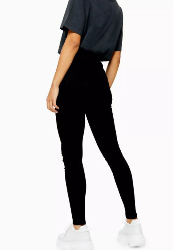Black Five Pocket Knee Ripped Jeans