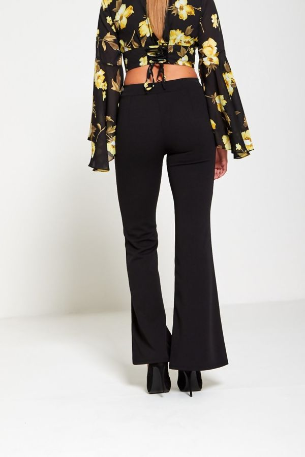 Black Flared Leg Trousers
