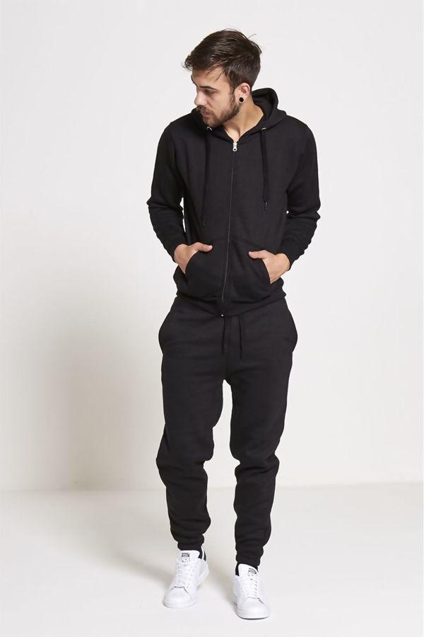 Black Fleece Jogging Pockets Bottoms Plain Tracksuit