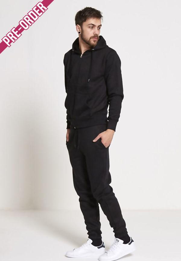 Plus Size Black Fleece Jogging Pockets Bottoms Plain Tracksuit
