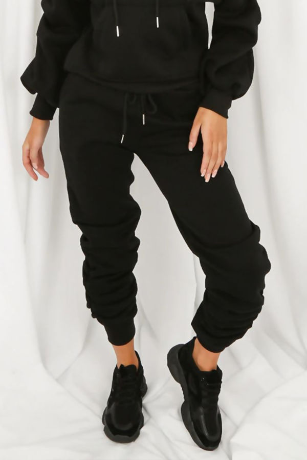 Black Fleece Lined Ruched Ankle Joggers
