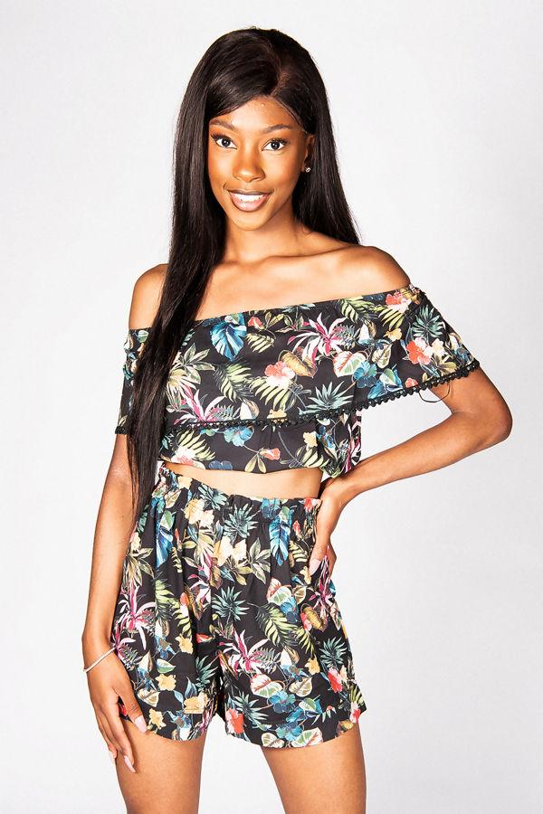 Black Floral Bardot Crop Top And Shorts Co-ord Set