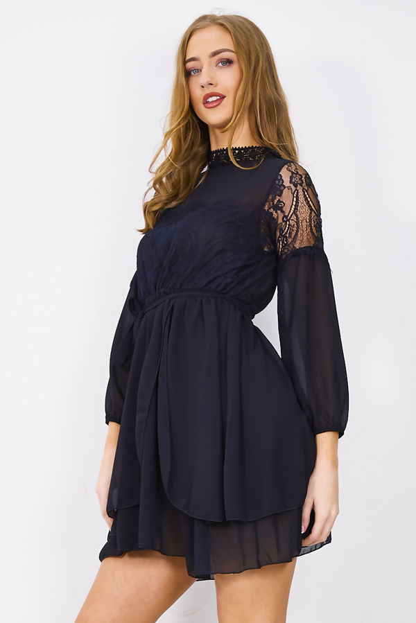 Black Flounce Lace Shift Dress