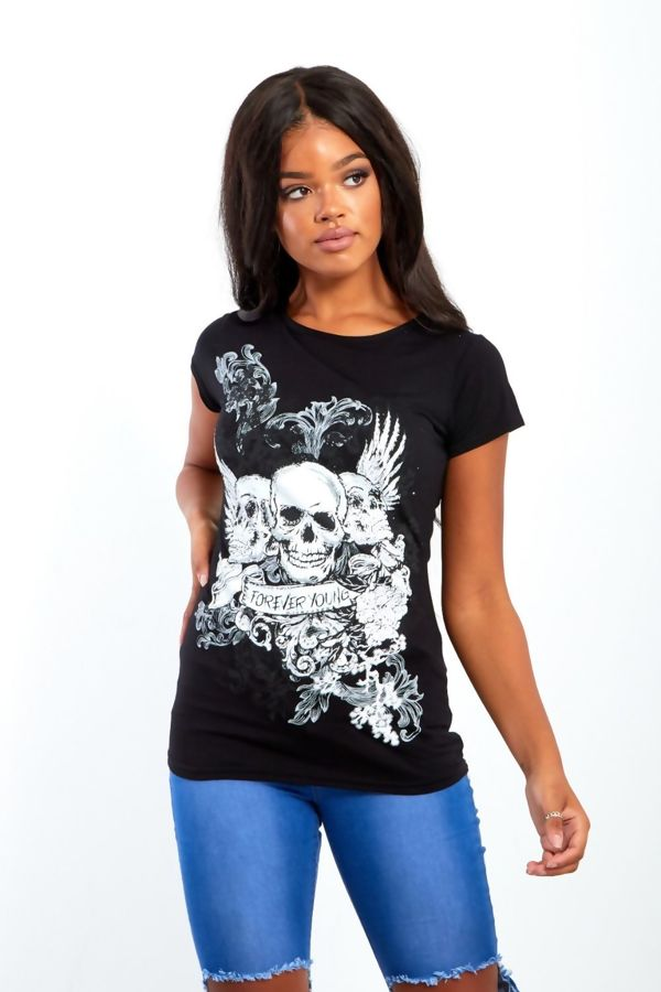 Black Forever Young Skull T-shirt