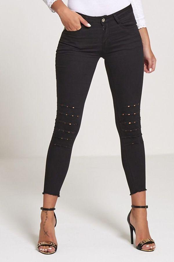 Black Frayed Hem Skinny Jeans