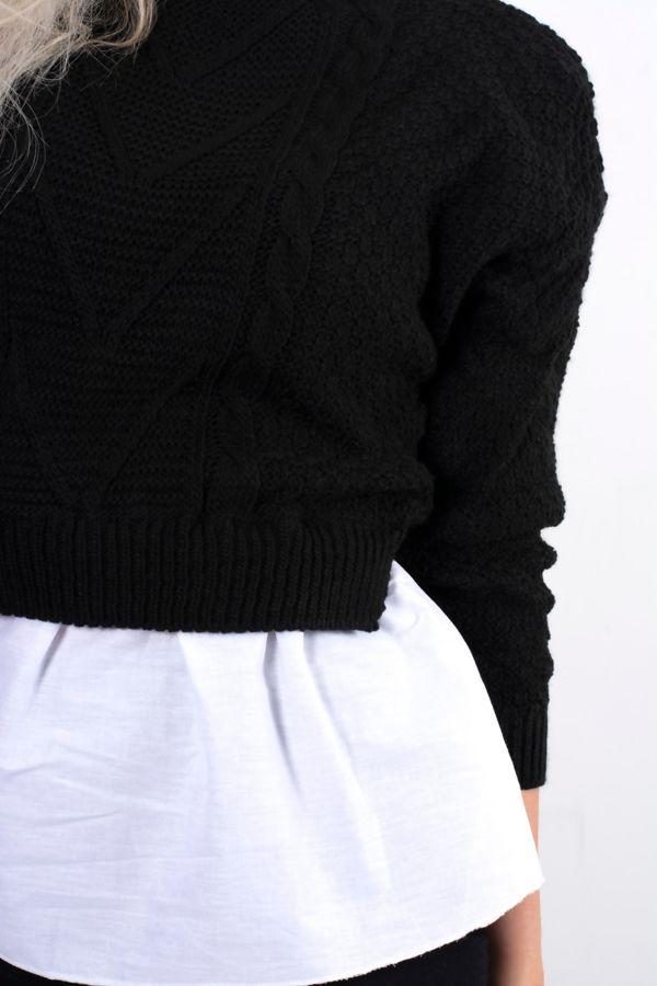Black Frill Knitted Shirt Jumper