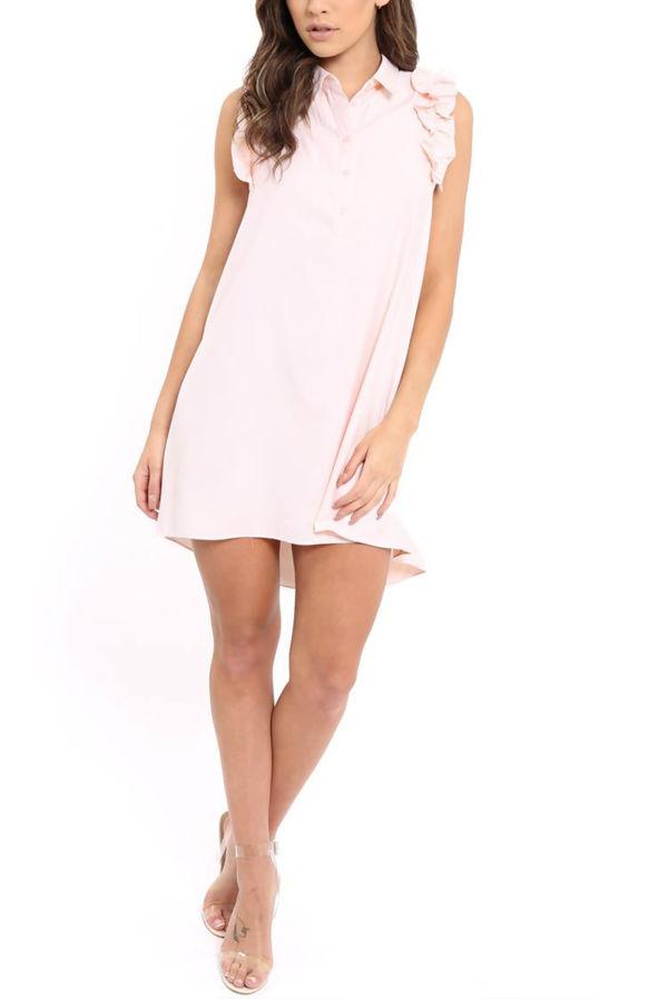 Black Frill Sleeve Dip Hem Shirt Dress