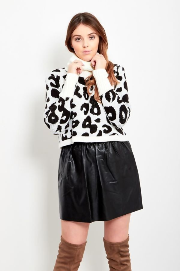 Black Frill Tape Leather Puff Skirt