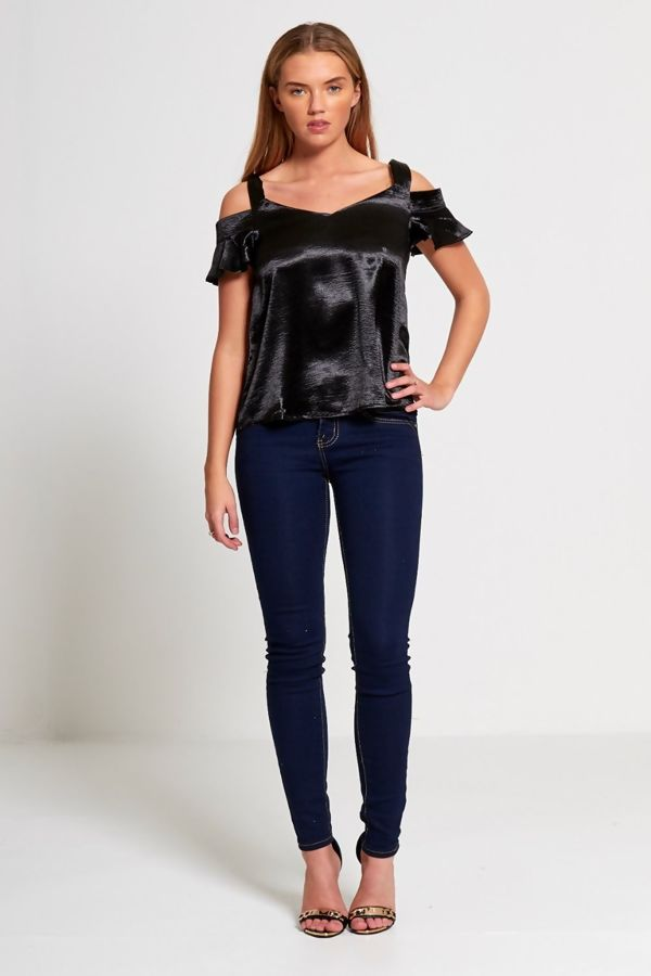 Black Frilly Sleeved Top