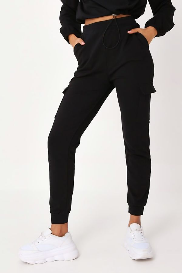 Black Front Pocket Half Zip Lounge Set