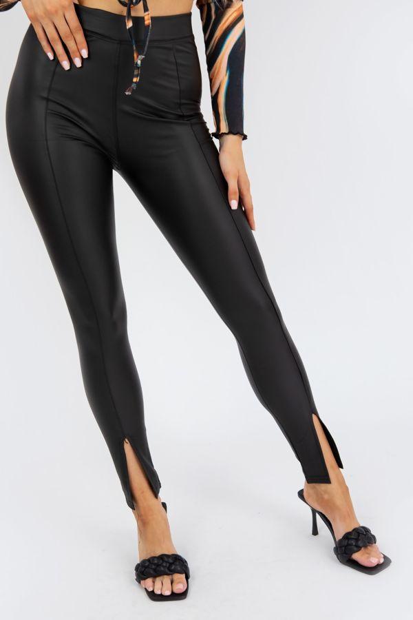 Black Front Split Leather Look PU Leggings